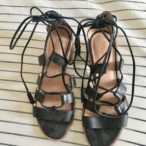 Madewell Black Tie Up Sandals